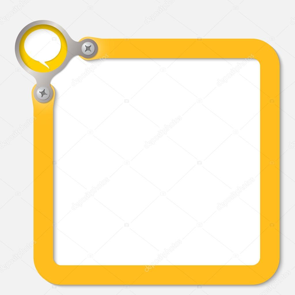 gelber Rahmen Text mit Sprechblase — Stockvektor © garrifrotto #54246089
