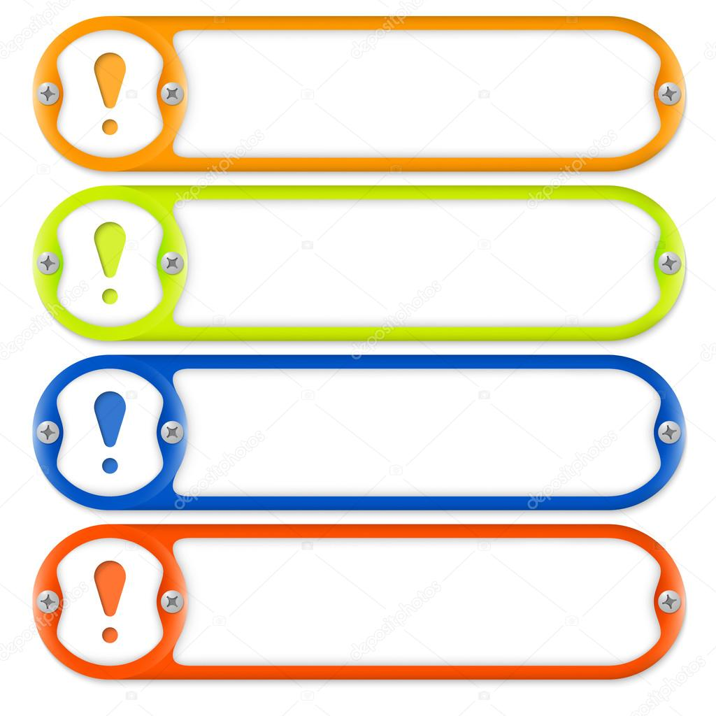 cuatro marcos para introducir texto con tornillos y signo de ...