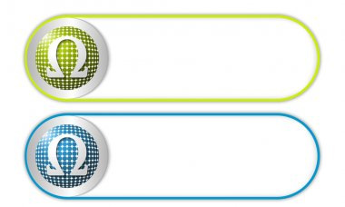 Two vector buttons with grid and omega symbol