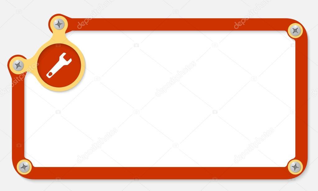 Marco rojo para texto con tornillos y llave — Archivo Imágenes ...