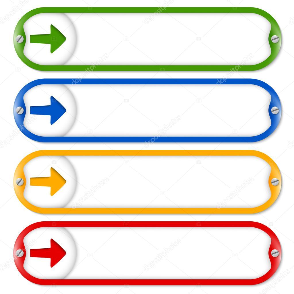 Cuatro cuadros para ingresar texto con flecha y tornillos — Archivo ...