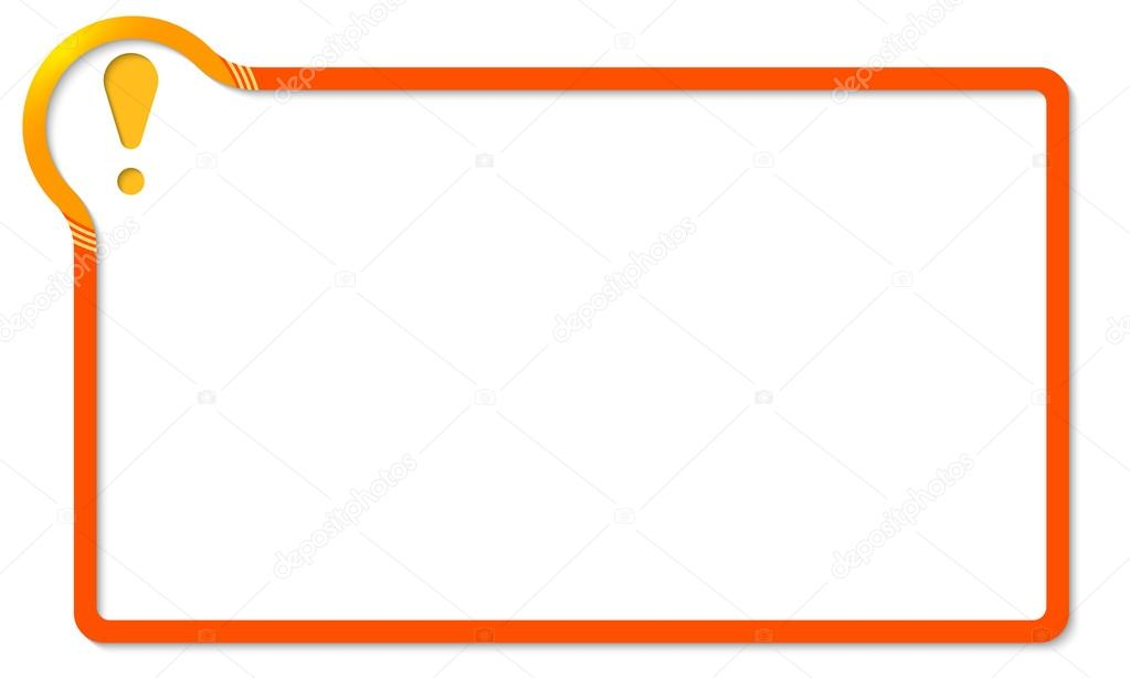 red frame with yellow corner and exclamation mark — Stock Vector ...
