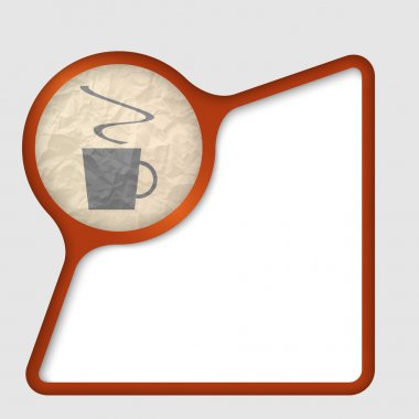 Abstract frame with texture of crumpled paper and cup of coffee