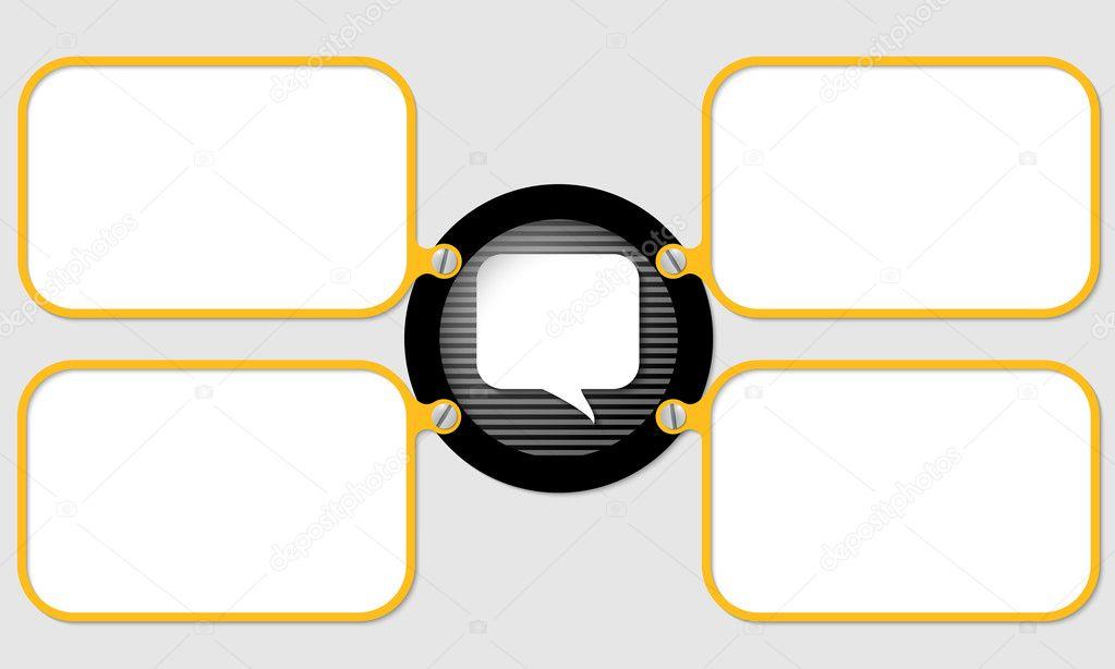 cuatro marco amarillo para texto con burbujas de discurso — Archivo ...