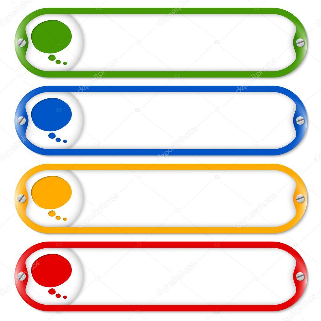 cuatro cuadros para ingresar texto con tornillos y burbujas de ...