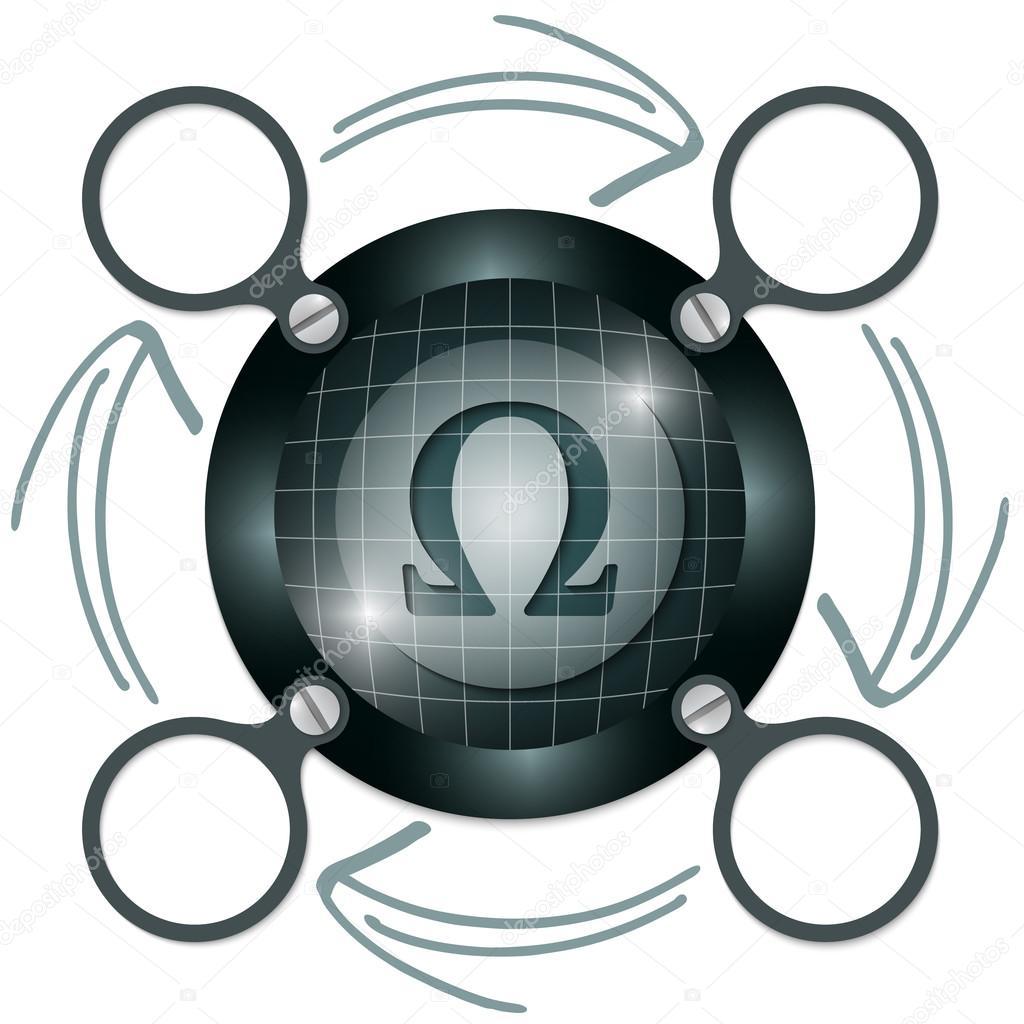 marco circular oscura para el texto con las flechas y el símbolo ...
