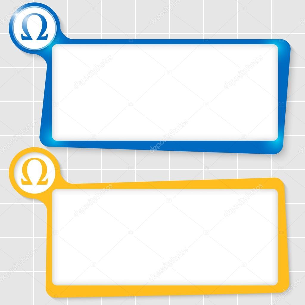 Conjunto de dos cuadros de texto para texto y omega símbolo — Vector ...