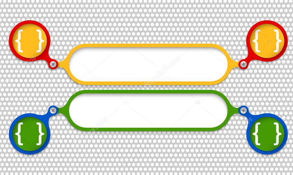 Gekleurde Frames Samen Met Een Bout En Vierkante Haken Stockvector