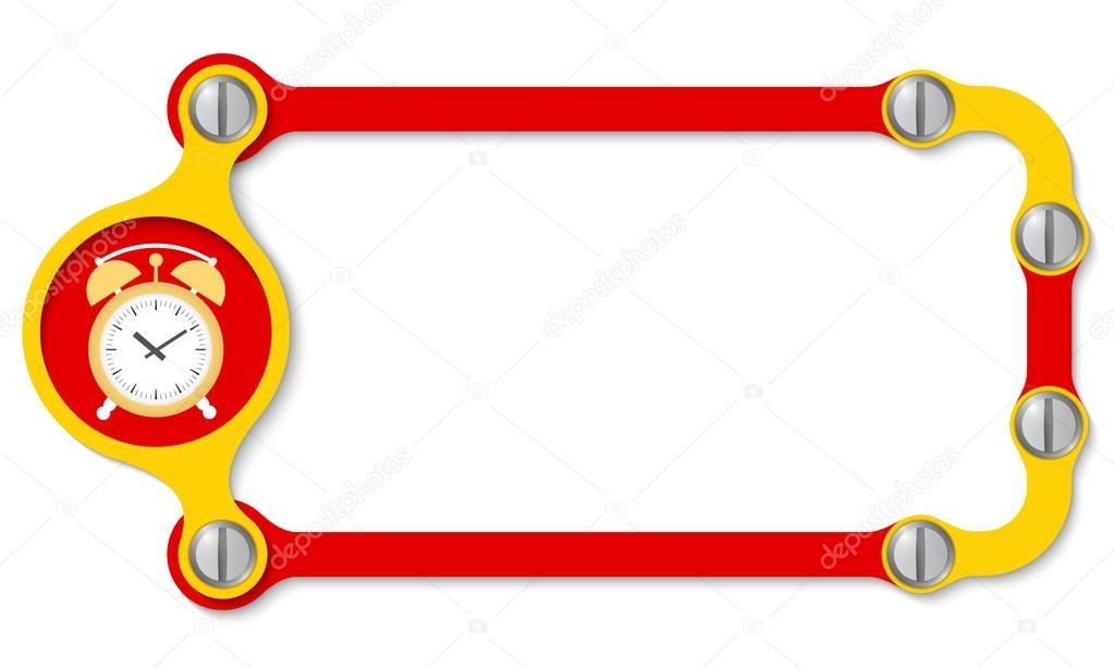 Marco de vector con tornillos y reloj despertador — Vector de stock ...