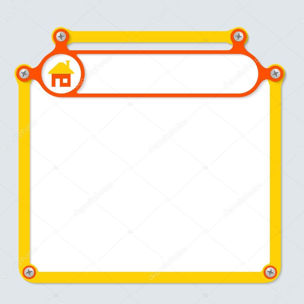 marco amarillo para texto con tornillos y el marco para el titular ...