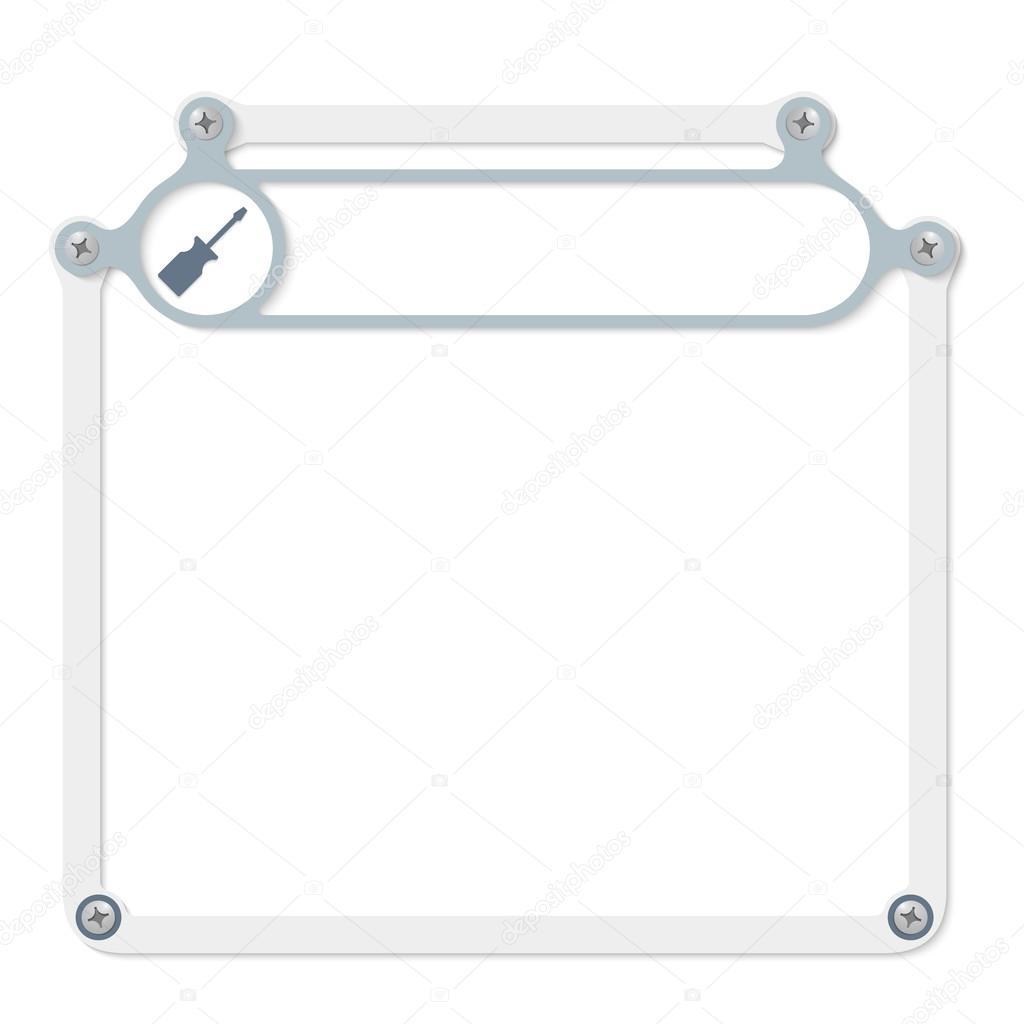 Grauen Rahmen für Text mit Rahmen für Überschrift und Schrauben ...