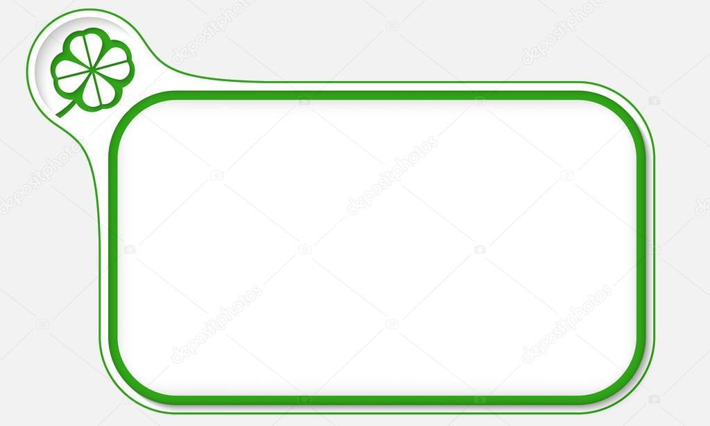 Marco verde para el texto y la hoja de trébol — Vector de stock ...
