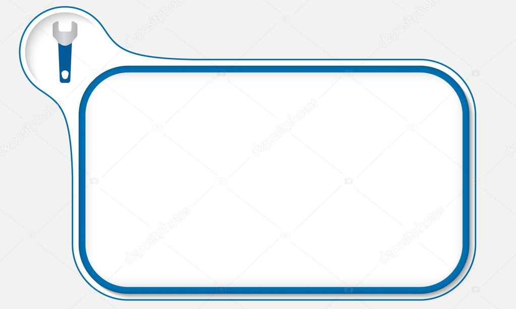 Marco azul para el texto y llave — Archivo Imágenes Vectoriales ...