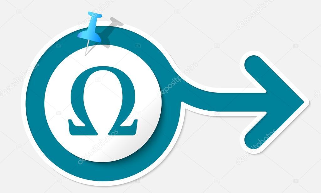 Resumen flecha con símbolo blanco de marco y omega — Vector de stock ...