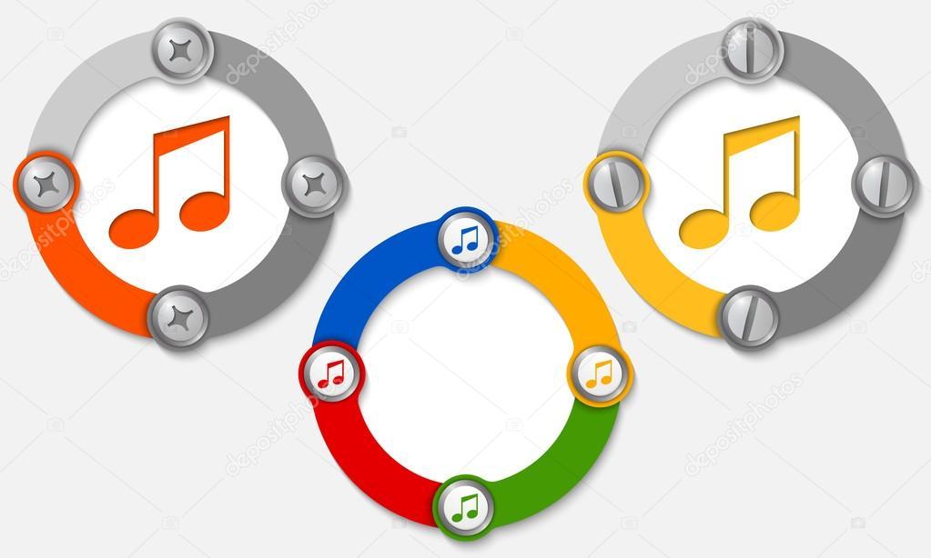 Satz von drei farbige Bilder und Musik-symbol — Stockvektor ...