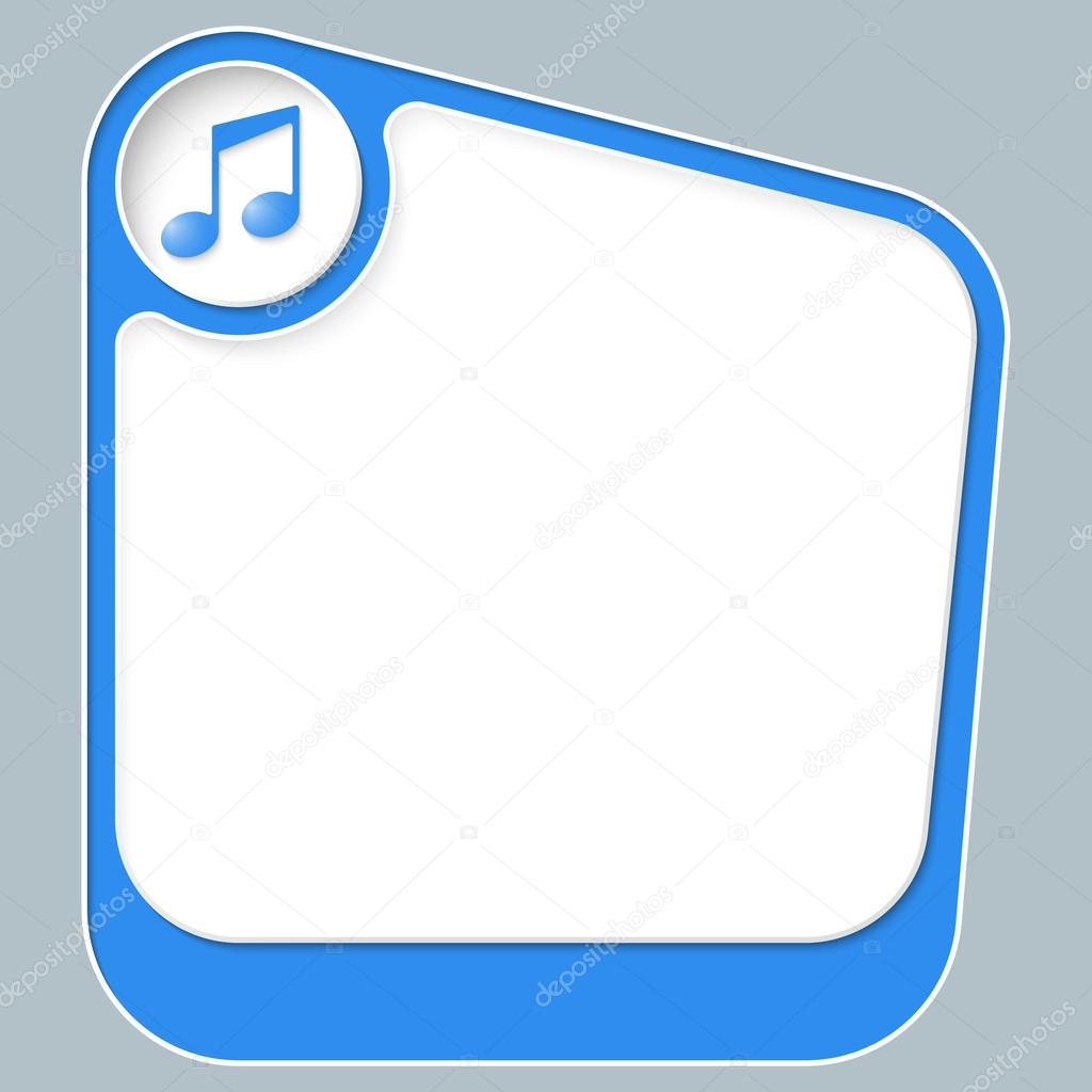 Blue Box For Your Text With White Frame And Music Symbol Stock