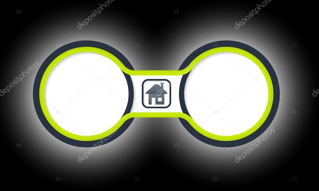 Dos marcos circulares coloreados para su símbolo de texto y página ...