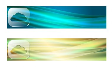 Set of two banners with waves and transparent cloud symbol