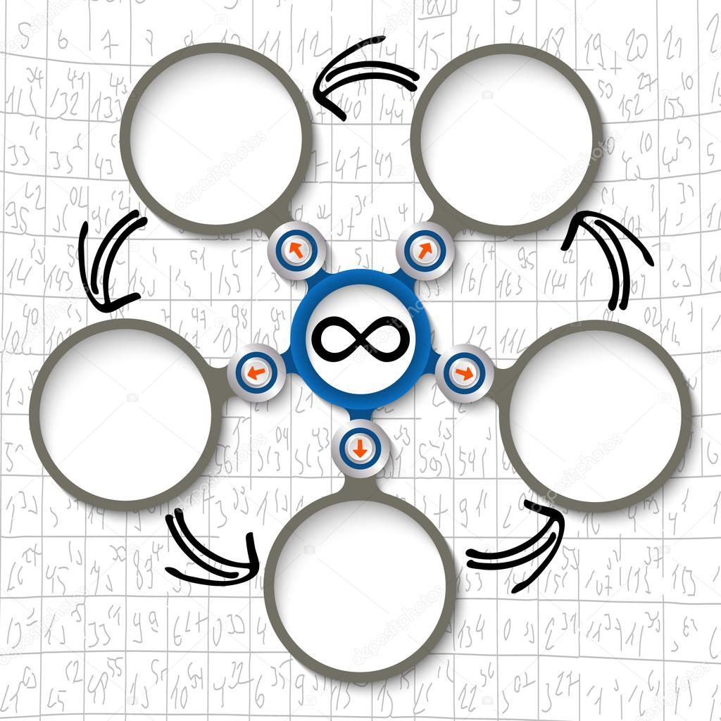 Cinco cuadros de texto circular Resumen y símbolo de infinito ...