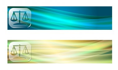 Set of two banners with waves and transparent justice symbol