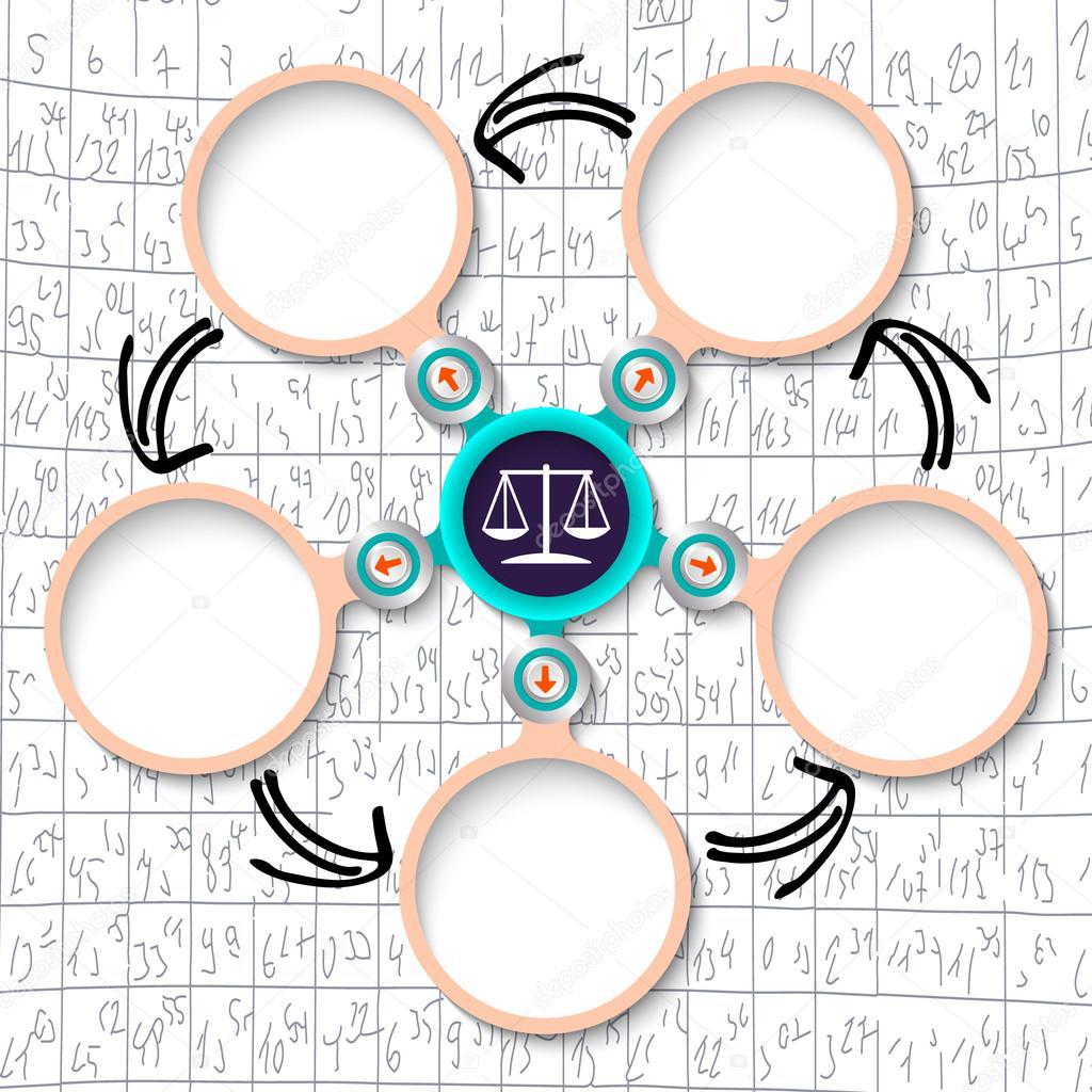 Cinco cuadros de texto circular Resumen y símbolo de abogado ...