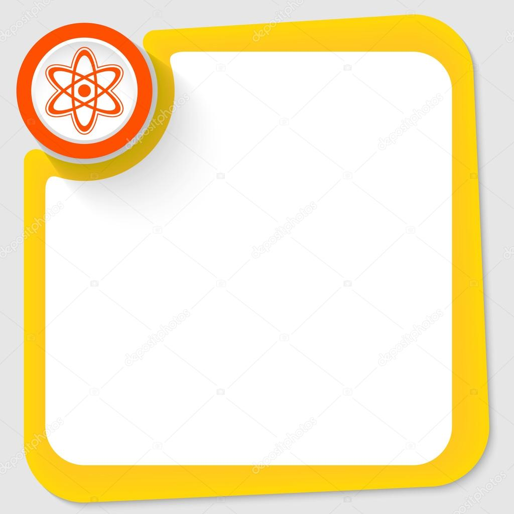 Red circle and science symbol and yellow frame for your text — Stock ...