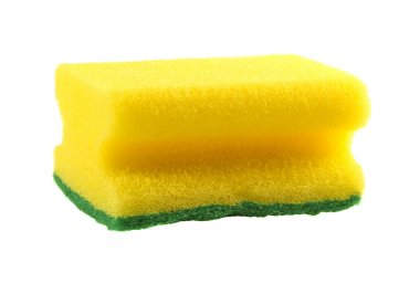 Yellow sponge for washing utensils isolated on a white backgroun