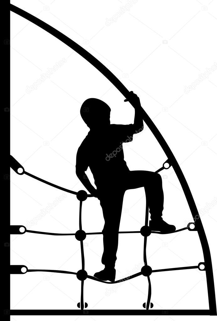 Printa junge klettern auf dem Klettergerüst-Seil — Stockvektor ...