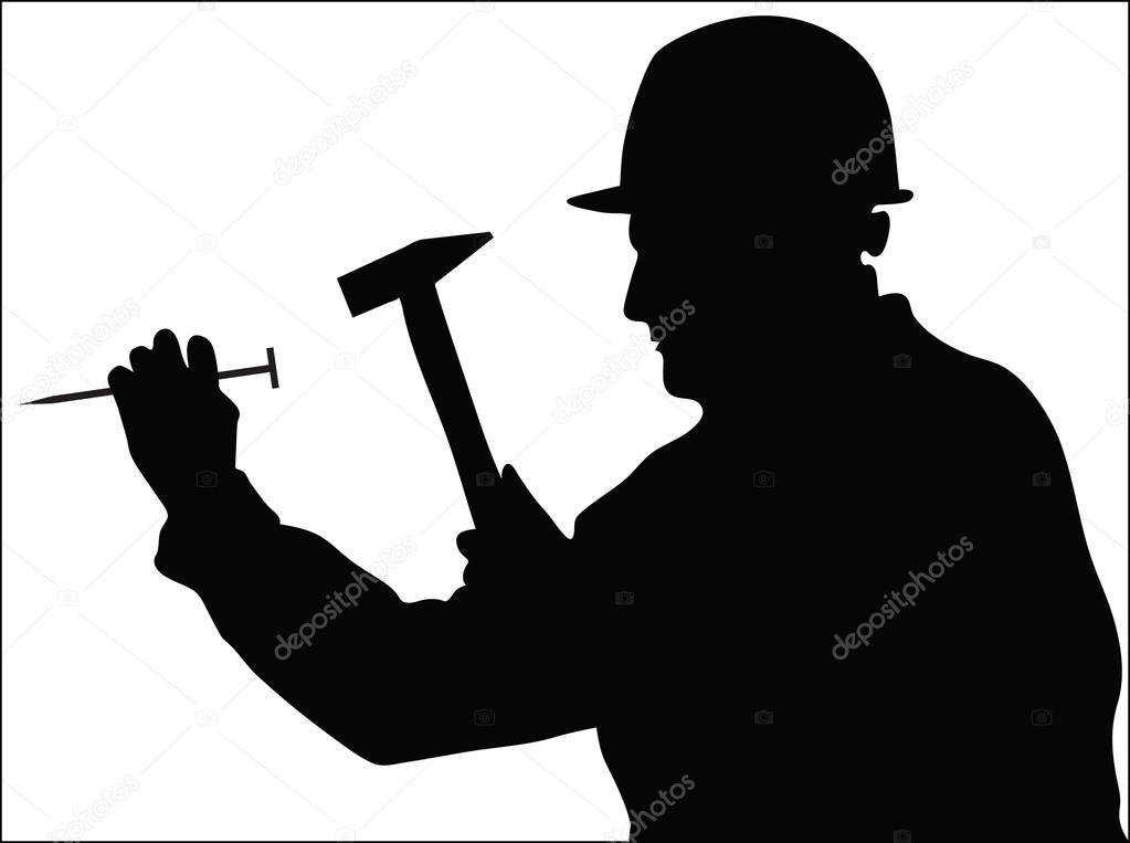 Vector Illustration Hammer: Master Uses A Hammer To Hit A Nail