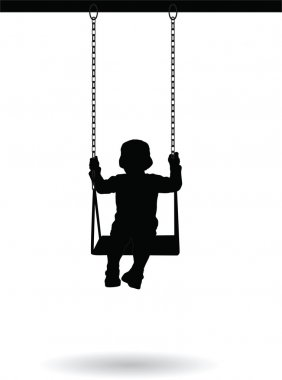Boy swinging on a swing in the park silhouette vector illustration stock vector