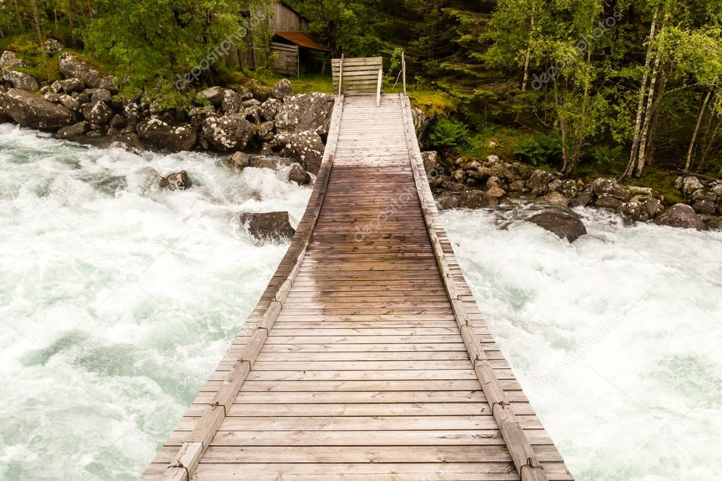 Wooden bridge without rails