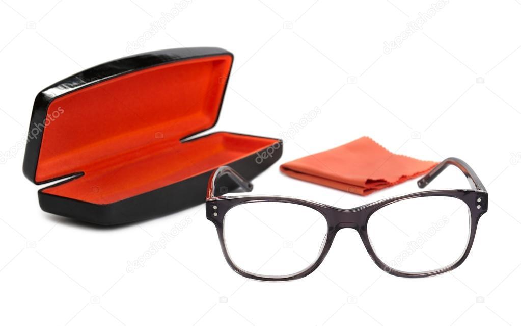 Brillen in der grauen Rahmen, Fall und samt-Multifunktionsleiste auf ...