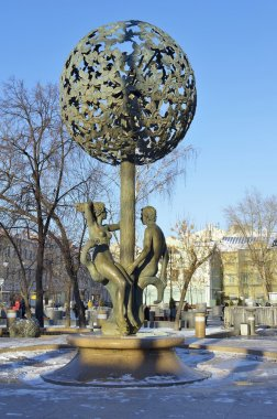 Sculpture biblical figures of Adam and Eve under the Tree of Paradise at the center of the fountain of the same name