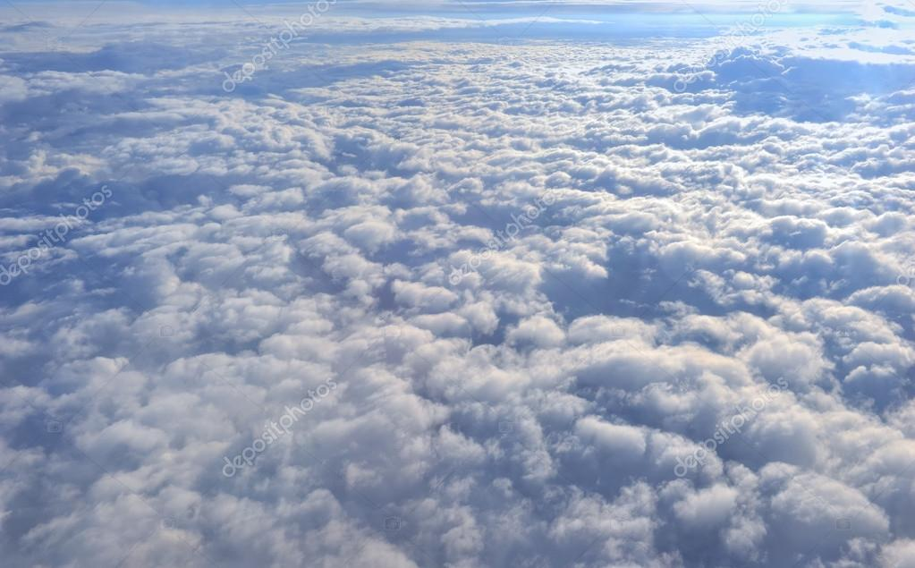 Clouds aerial view from airplane window