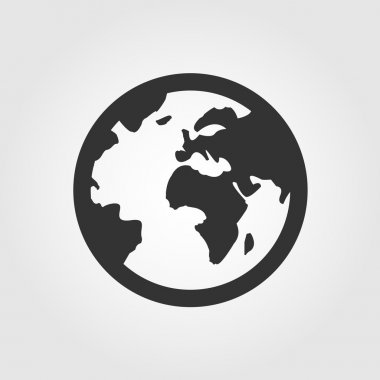 Earth globe icon, flat design