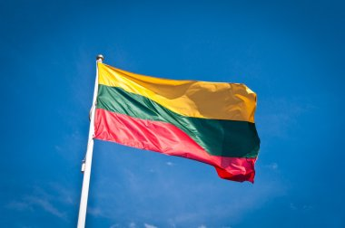 Lithuania flag waving on the wind