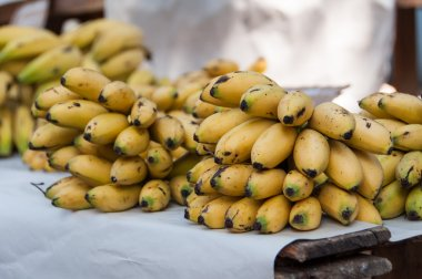 Bunches of fresh bananas