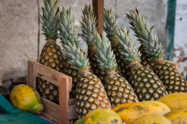 Fresh pineapples with green leaves