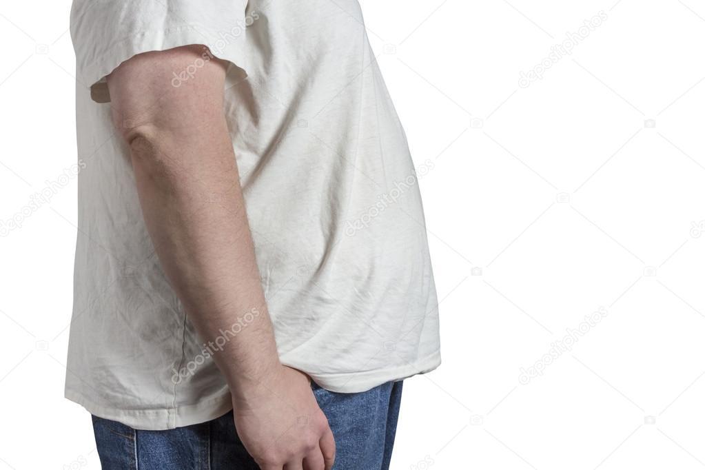 Overgewicht Overhemd — Man En Jeans In Wit Stockfoto Blauwe CQBExrdoeW