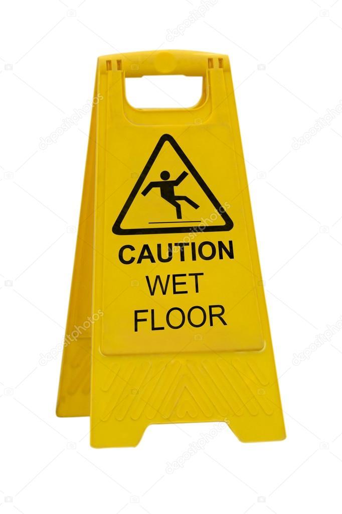 cartello pavimento bagnato di attenzione — Foto Stock © kunertus ...
