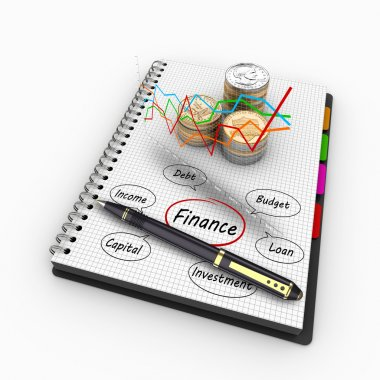 3D rendering spiral notebook with US coins and written words of the Economy and Finance