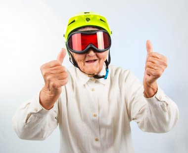 extreme grannie showing thumbs up