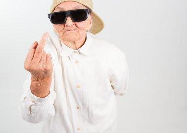 cool grandma showing her f-finger