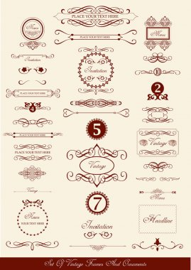 Set of vintage frames and icons