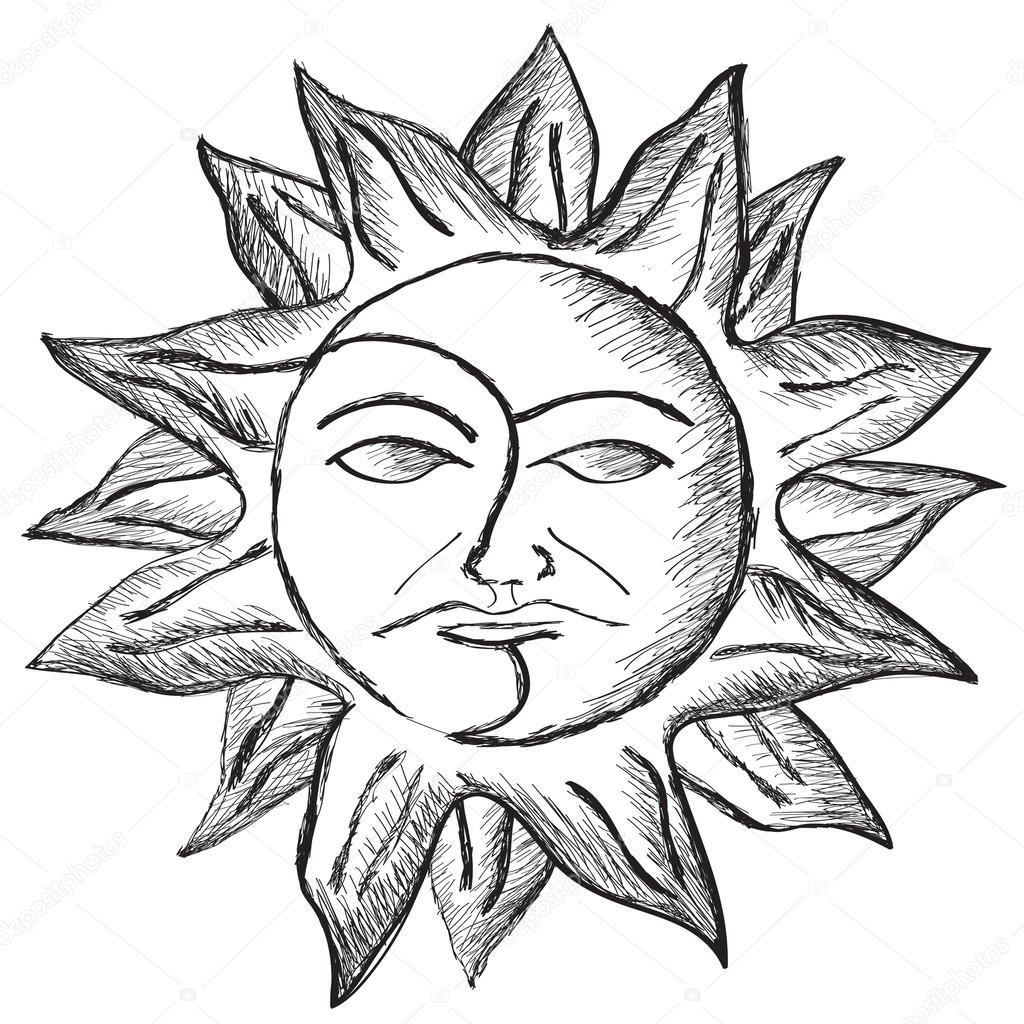 Dibujo De Cara De Sol Y La Luna Archivo Imágenes Vectoriales