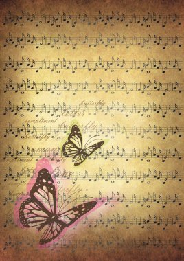 music notes with butterflies