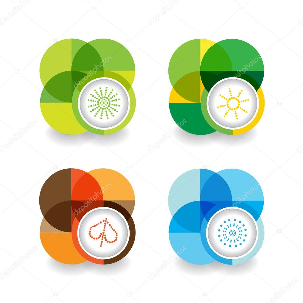 Set of four seasons icons