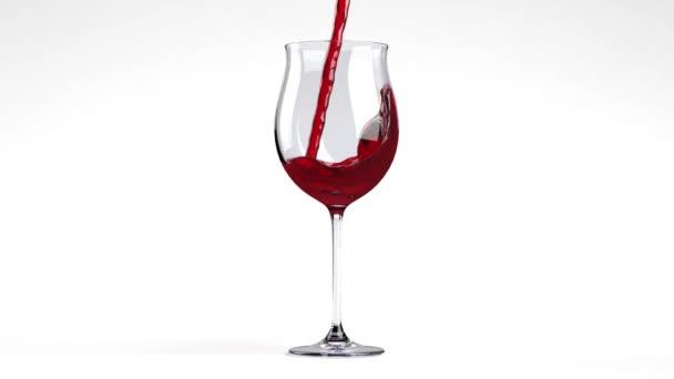 Shot z červeného vína, nalil do sklenice na bílé