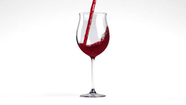 Schuss Rotwein im Glas auf Weiß