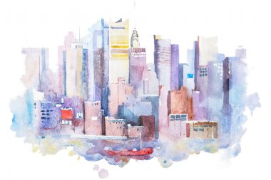 watercolor drawing of New York cityscape